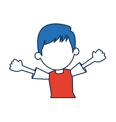 boy cartoon student in blue and orange avatar vector image