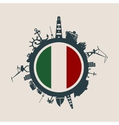 Cargo port relative silhouettes Italy flag vector image