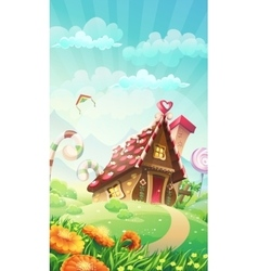 Cartoon candy house on the meadow vector