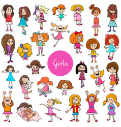 cartoon kid girls characters big set vector image