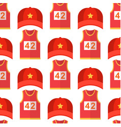 Cartoon red baseball hats seamless pattern vector