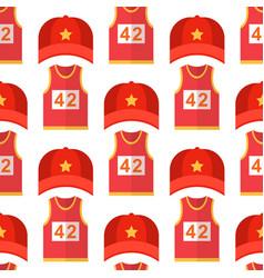 cartoon red baseball hats seamless pattern vector image