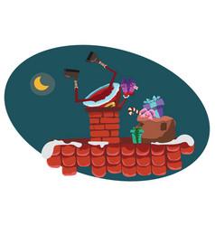 cartoon santa claus climbs into chimney vector image