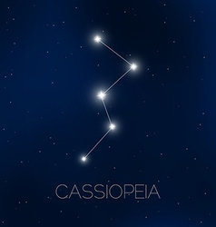 Cassiopeia constellation in night sky vector