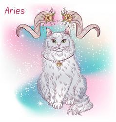 Cat zodiac color aries vector