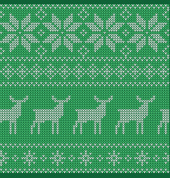 Christmas seamless green pattern nordic style vector
