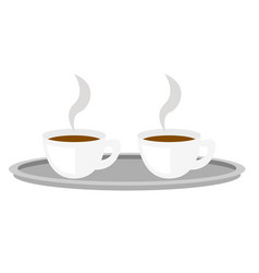 Coffee cups on tray cartoon vector
