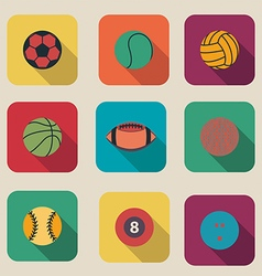 Collection of sport ball icon flat design vector image