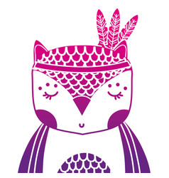 Color silhouette cute owl animal with feathers vector
