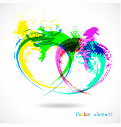 colorful grunge heart splash abstract brush vector image