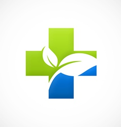 Cross medical bio ecology logo vector