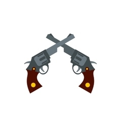 Crossed retro revolvers icon flat style vector