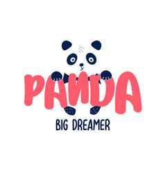 cute panda print design with slogan vector image
