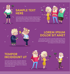 design of people using gadgets in poster vector image