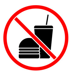 do not eat or drink sign vector image