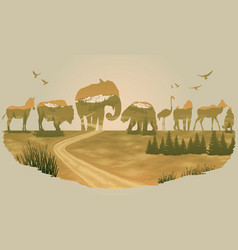 double exposure wild animals vector image