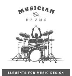 Drummer plays drums vector