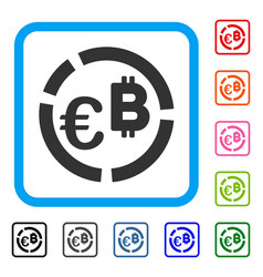 Euro bitcoin diagram framed icon vector