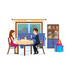 festive dinner of couple vector image