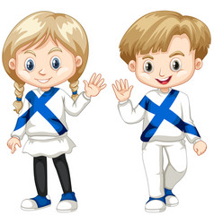 finnish boy and girl waving hello vector image