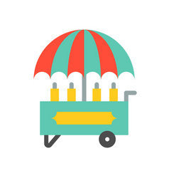 Food cart icon amusement park related flat style vector