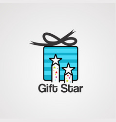 Gift star logo icon element and template vector