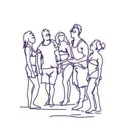 Group of sketch people talking standing together vector