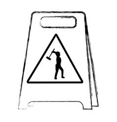 Grunge plastic caution emblem and laborer with vector