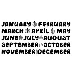 handwritten names of months round font vector image