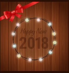 happy new 2018 year greeting card with garland vector image