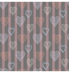 Heart pattern in doodle style vector