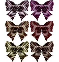 Holiday black polka dot bows vector image