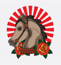 horse flash tattoo designs vector image
