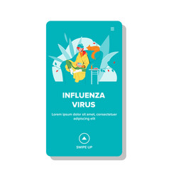 Influenza virus woman sitting in chair vector