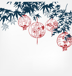 japanese chinese paper lights traditional card vector image