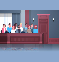 Jury sitting in box court trial session mix race vector