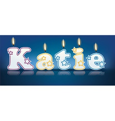 KATIE written with burning candles vector