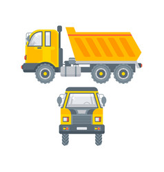 kipper truck side view and front view vector image