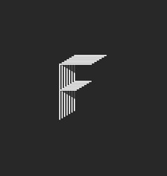 letter f logo black and white many thin lines vector image