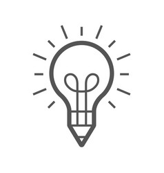 light bulb and pencil logo template creative idea vector image