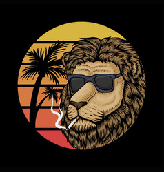 lion sunset retro vector image