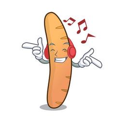 Listening music baguette mascot cartoon style vector