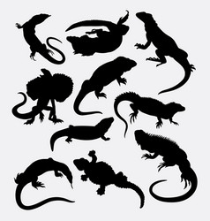 Lizard reptilian animal silhouette vector