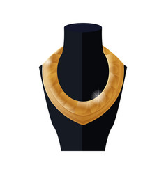 Luxury golden necklace on black mannequin vector