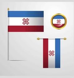 Mari-el waving flag design with badge vector