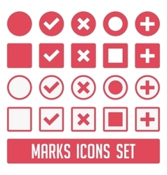 Marks icons set red vector image