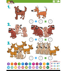 Maths addition educational task with dog vector