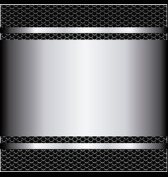 Metallic grill background with plate and screws vector