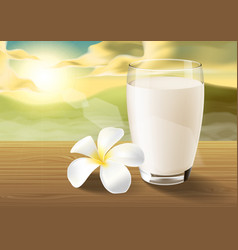 Milk and plumeria on wooden table on the morning vector