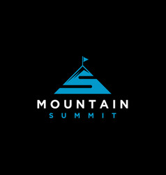 Mountain with initial lettering s modern vector